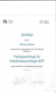 Zertifikat - Fachpsychologe für Verkehrspsychologie (BDP)